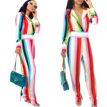 Wide Stripped Colorful Jumpsuit with Collar
