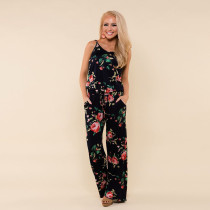 Lazy Straps Flower Jumpsuit