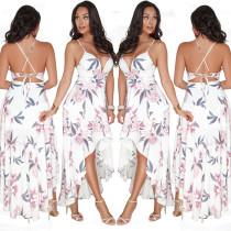 Sexy vestido largo de flores irregular de las correas
