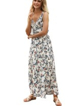 Robe longue à col en V avec fleurs