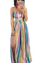Top de rayas de color multicolor y falda larga