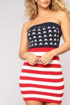 Vestido de tubo sexy bandera americana
