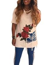 Camisas de flores con estilo rasgado