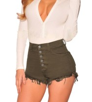 Short en jean taille haute sexy avec bordure en peluche
