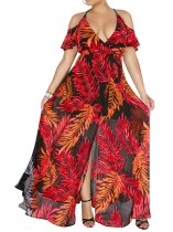 Halter Print Maxi Dress com mangas curtas