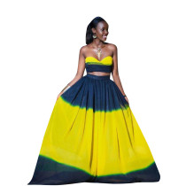 Block Color Strapless Bra Top and Maxi Skirt