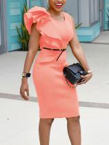 Fırfır Dekorasyon ile Düz Renk Parti Elbise