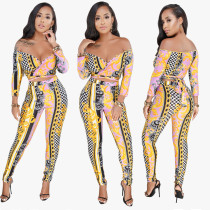 Chains Print Sexy Sweetheart Top and Pants
