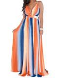 Deep-V Sexy Halter Long Flower Dress