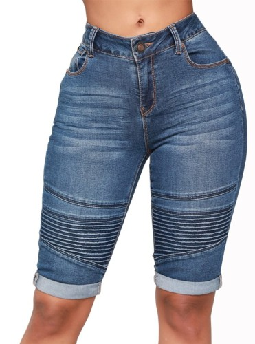 Blue Stripes Mid Denim Pants