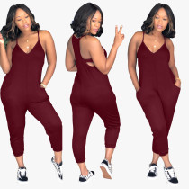 Plain Color T-Back Loose Jumpsuit
