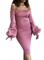 Pop kollu seksi kapalı omuz şeffaf parti elbise