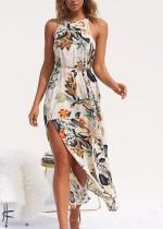 Vestido de flores de lado largo con espalda descubierta