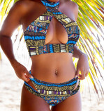 Africa Print High Waist Two-piece Swimwear