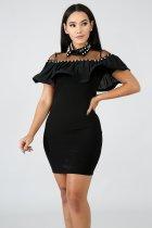 Vestido de fiesta rhinestone negro con volantes