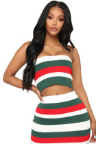 Sexy Stripes Colorful Bandeau Top and Skirt
