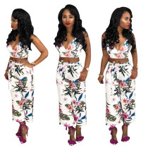 Flower Wrap Crop Top and Pants with Belt