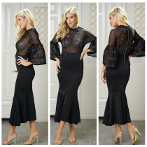 Pop kollu seksi siyah denizkızı parti elbise