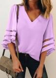 Blusa sexy con cuello en V y mangas anchas