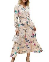 Vestido largo de flores con cuello en V y mangas