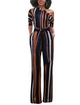Mehrfarbiger Streifen-Overall mit einer Schulter