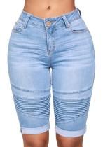 Blaue Streifen Mid Denim Hosen