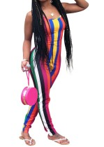 Multi-Color Stripped Strap Jumpsuit
