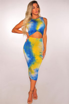 Sexy Colorful Sleeveless Cut-Out Midi Drses
