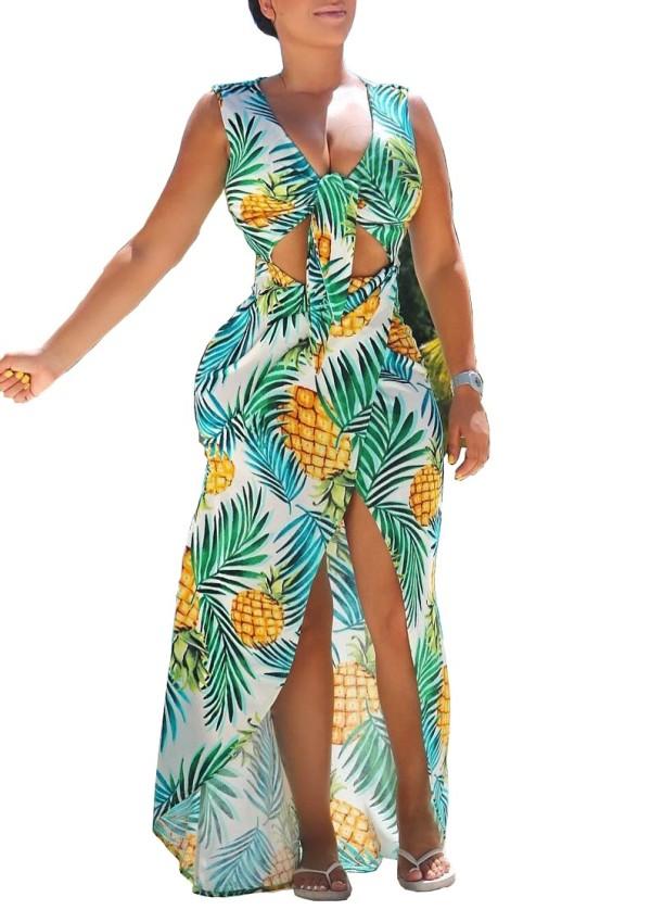 Imprimir vestido largo sin mangas irregular verde