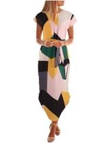 Kısa Kollu Renkli Düzensiz Uzun Elbise