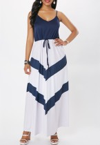 Maxi vestito con cinturini bianchi e blu