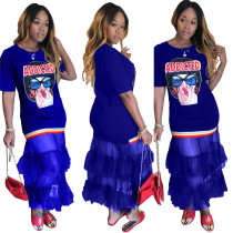 Character Print Mermaid Dress mit Mesh-Saum