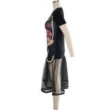 Vestido de sirena con mangas cortas
