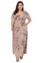 Maxi-Kleid mit kurzen Ärmeln und Blumenmotiv in Übergröße