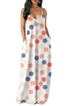 Cepli Büyük Polka Sapanlar Maxi Elbise
