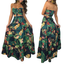 Print Strapless Top and Maxi Skirt