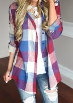 Многоцветные чеки Блузка с рукавами