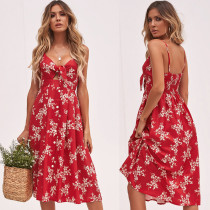Floral Red Straps Long Dress
