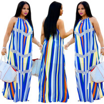 Çok Renkli Çizgili Halter Uzun Elbise