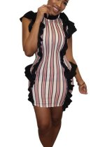 Stripes Print Ruffles Club Dress
