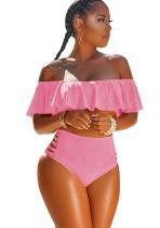 Zweiteilige Schulterfreie Badebekleidung mit hoher Taille