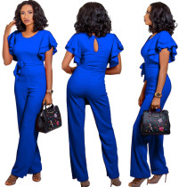 Plain Color Jumpsuit with Ruffles Sleeves