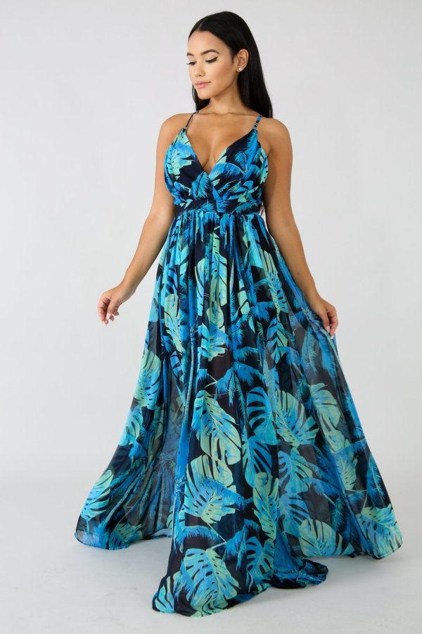 Печать Сексуальные ремешки Длинные свадебные платья