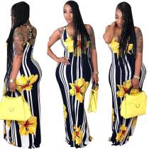 Stripes and Floral Halter Long Dress