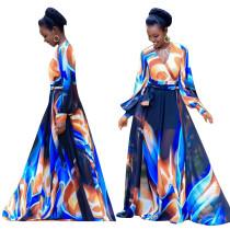 Robe longue colorée à manches longues