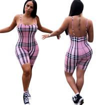 Sexy Low Back Straps Checks Jumpsuit