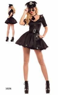 Polizeifrauen Sexy Kostüm einschließlich Kleid, Krawatte, Hut und Gürtel