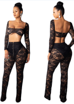Black Lace Sexy Club Top and Pants
