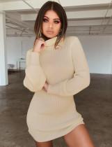 Mini vestido de suéter de manga larga con cuello vuelto