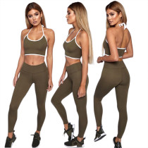 Sports Halter Bra and Leggings with Contrast Trim